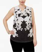INC International Concepts Plus Size Printed Cowl-Neck Top, Only at Macy's