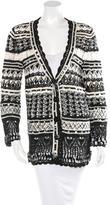 Oscar de la Renta Silk Open Knit Cardigan