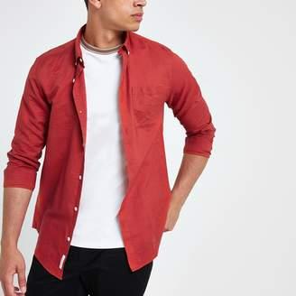 River Island Mens Red long sleeve linen blend shirt