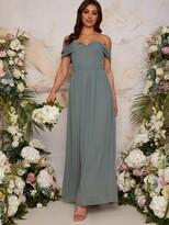 Thumbnail for your product : Chi Chi London Bardot Draped Chiffon Bridesmaid Dress - Green