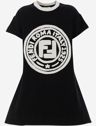Fendi Black Cotton Signature Girl's Dress