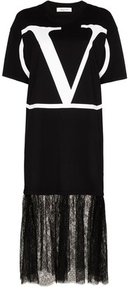 Valentino lace-panelled VLOGO T-shirt dress
