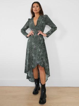Missguided High Low Long Sleeve Wrap Midi Dress - Green Polka Dot