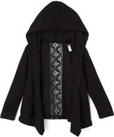 KensieGirl Black Lace-Accent Hooded Open Cardigan - Girls