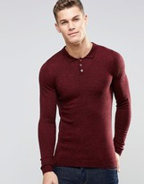 Asos Merino Wool Muscle Fit Long Sleeve Polo