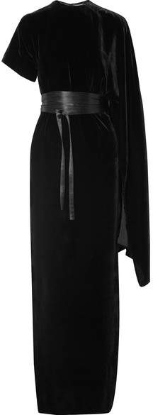 Awake Draped Asymmetric Velvet Maxi Dress - Black