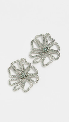 Oscar de la Renta Pave Flower Earrings