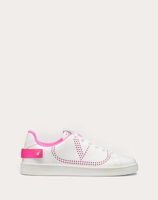 Valentino Backnet Calfskin Sneaker Women White/lime Calfskin 100% 35