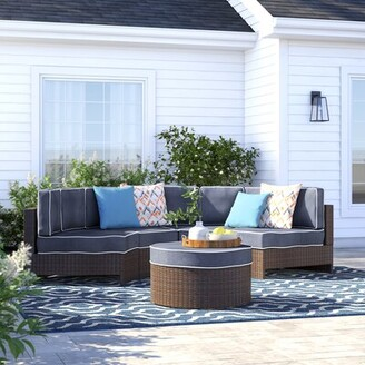Bermuda 5 Piece Rattan Sectional Seating Group with Cushions Sol 72 Outdoor Color: Navy Blue