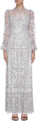 Needle & Thread Sequin embellished trumpet sleeve tulle dress