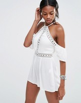 Missguided Cheesecloth Cold Shoulder Romper