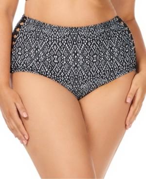 Raisins Curve Trendy Plus Size Juniors' Mahina Grace Bay Printed Tummy Control High-Waist Bikini Bottoms Women's Swimsuit
