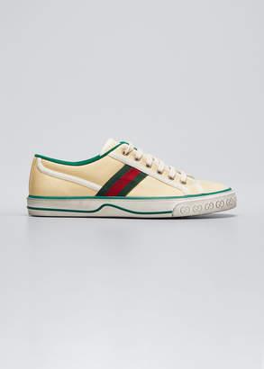 Gucci Vulcan 78 Tweed Web Strap Tennis Sneakers