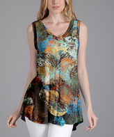 Lily Brown & Blue Abstract V-Neck Tunic - Plus Too