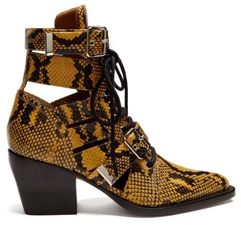 79d56ab8 Rylee Snake Effect Leather Ankle Boots - Womens - Yellow Multi