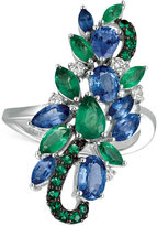 LeVian Le Vian® Precious Collection Sapphire (2 ct. t.w.), Emerald (1 ct. t.w.) and Diamond (1/5 ct. t.w.) Statement Ring in 14k White Gold, Only at Macy's