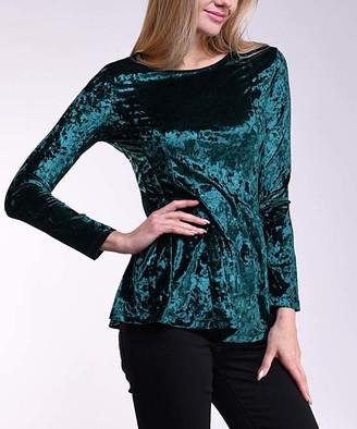 Lbisse Women's Blouses Green - Green Velvet Long-Sleeve Top - Women
