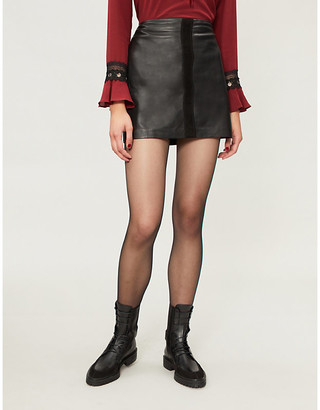 Pinko Sonda leather mini skirt