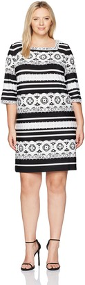 Sandra Darren Women's 1 Pc Plus Size 3/4 Sleeve Ity Puff Print Dress