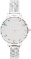 Olivia Burton Rainbow Stone Mesh Strap Watch, 34mm