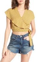 June & Hudson Women's Cape Sleeve Wrap Crop Top