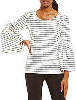 Calvin Klein Dot Stripe Textured Knit Bell Sleeve Top