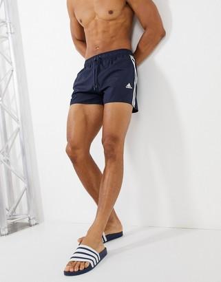 adidas 3 Stripe Swim Shorts In Navy