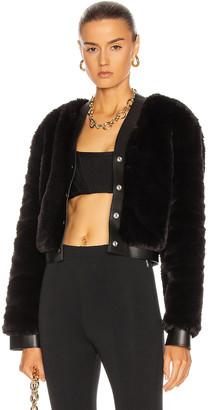 Alexander Wang Leather Trim Faux Fur Cardigan in Black | FWRD