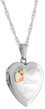 """Black Hills Gold """"I Love You"""" Heart Locket Pendant 18"""" Necklace in Sterling Silver with 12K Rose and Green Gold"""
