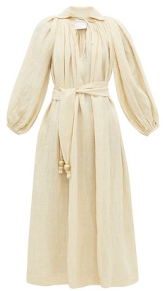 Lisa Marie Fernandez Poet Balloon-sleeve Linen-blend Dress - Womens - Beige