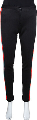 Gucci Black Stretch Knit Logo Tape Detail Trousers M