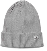 Cp Company Grey Marl Ribbed Knit Beanie