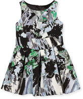 Milly Minis Sleeveless Painted Floral Pleated Dress, Black/Multicolor, Size 8-14