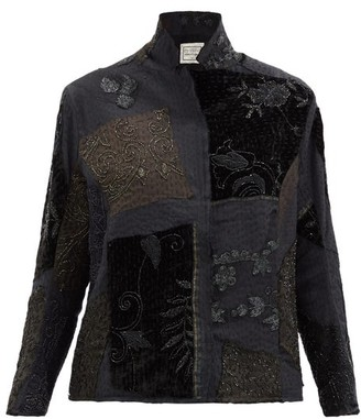 By Walid Haya Embroidered Upcycled-silk Jacket - Black Multi