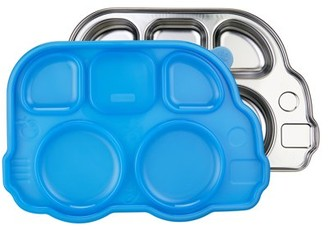 Innobaby Din Din Smart Stainless Divided Platter with Sectional Lid, Stainless Steel Divided Plate for Babies, Toddlers and Kids, BPA free plate (BLUE)