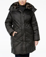 London Fog Plus Size Faux-Fur-Trim Quilted Puffer Coat