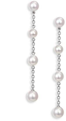 Mikimoto Akoya Pearl & Chain Drop Earrings