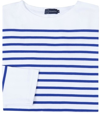 Armor Lux Iconic Long Sleeved 100% Cotton Ladies Breton Mariniere Amiral Shirt In White With A Blue Stripe - 3 - Blue/White