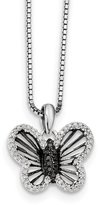 jewelryPot 925 Sterling Silver Rhodium Plated and White Diamond Butterfly Pendant. Total Carat Wt- 0.19ct.