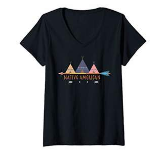 Womens Native American Indian 80s Vintage V-Neck T-Shirt