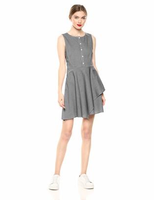BB Dakota Womens Let's Dance Micro Gingham Asymmetric Cotton Dress