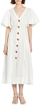 Nicholas Troy Linen Lantern Sleeve Dress
