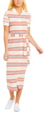 Lacoste Striped Cotton Polo Shirt Dress