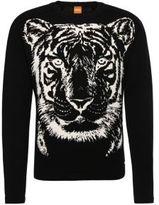 HUGO BOSS Kiger Cotton Intarsia Knit Sweater L Black