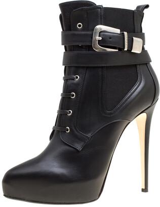 Le Silla Enio Silla For Black Leather Platform Ankle Boots Size 40