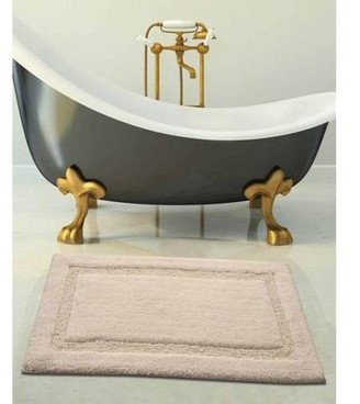 Saffron Fabs Bath Rug 2-Piece Set Solid Color, Textured Border, Pattern Regency, Assorted Colors and Sizes