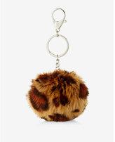 Express ok originals leopard faux fur pom keychain and bag charm