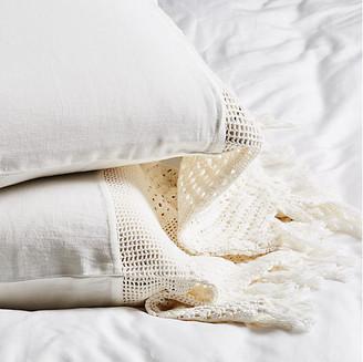 Pom Pom at Home Set of 2 Crochet Pillowcases - White Standard