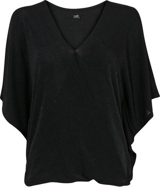 Wallis Black Cold Shoulder Wrap Top