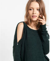 Express zip cold shoulder tunic sweater